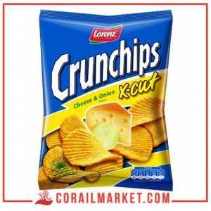 Chips goût fromage et oignon crunchips x-cut lorenz 150 g