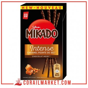 Biscuit stick au chocolat noir et caramel pointe de sel mikado lu 70 g