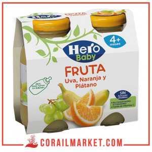 Jus de bébé sans Sucre ajouté (raisin , orange , banane) hero baby (+4 mois) 2×130 ml