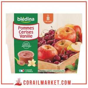 Compotes ( Pommes Cerises Vanille) dès 8 mois blédina 400 g